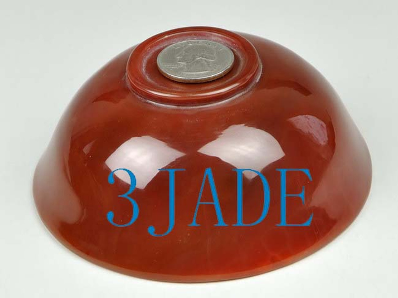 "4 1/4"" Hand Carved Carnelian / Red Agate Bowl -N013190"