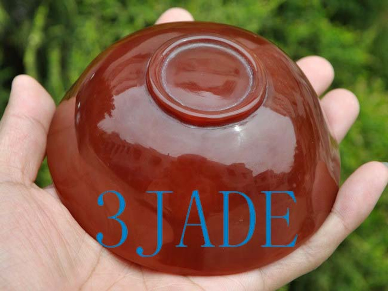 """4 1/4"""" Hand Carved Carnelian / Red Agate Bowl -N013190"""