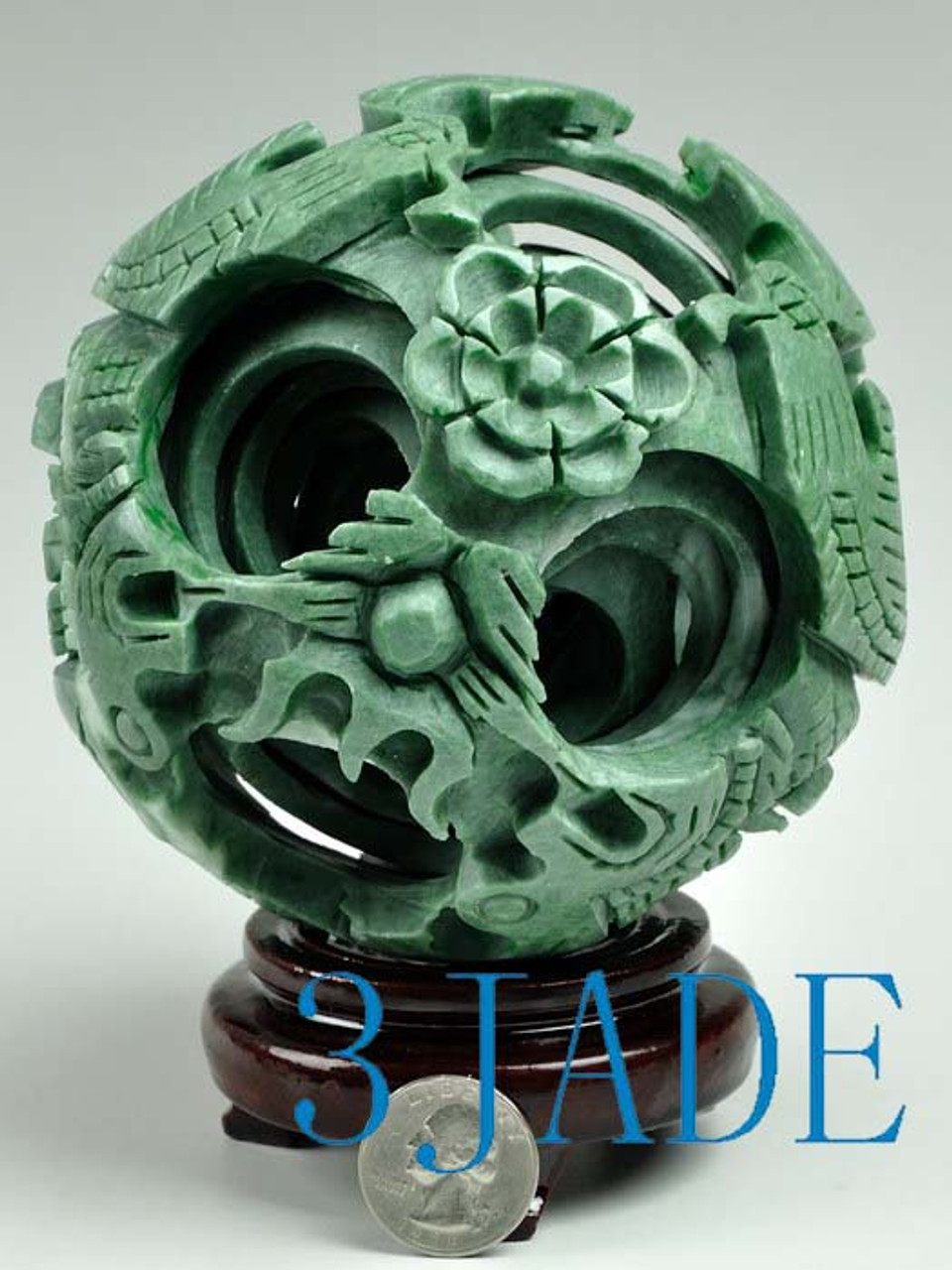"""4/"""" Hand Carved 4 layers Green Stone Magic Puzzle Ball Sphere"""