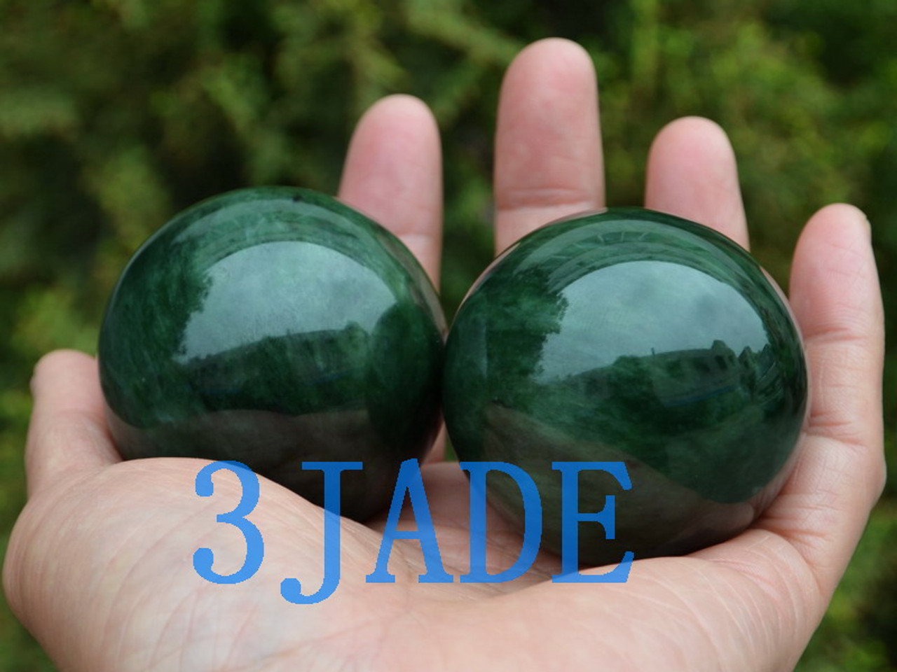 "2"" green nephrite jade ball"