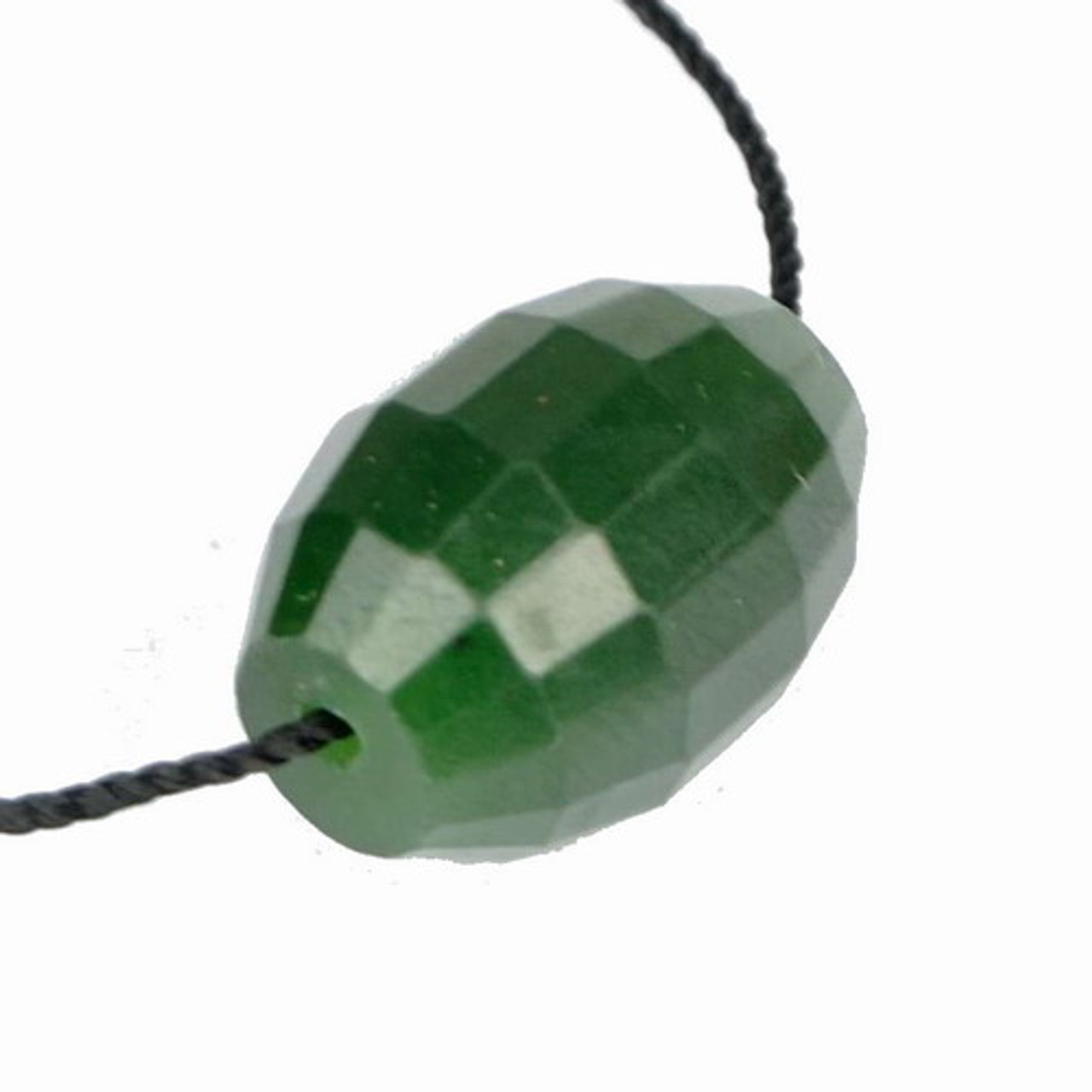 Faceted Green Nephrite Jade Barrel Bead