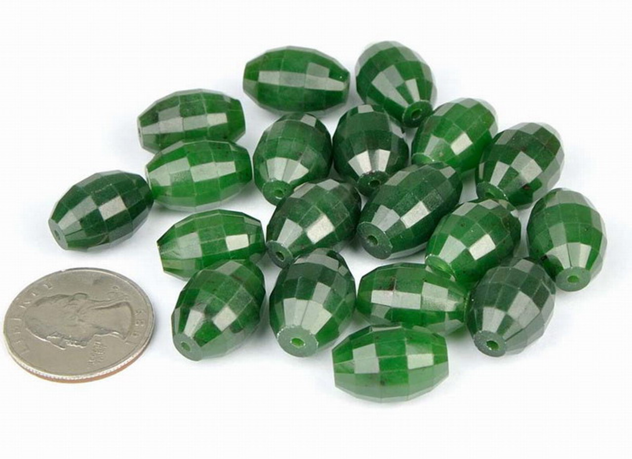 Faceted Natural Green Nephrite Jade Barrel Bead Pendant-G026137