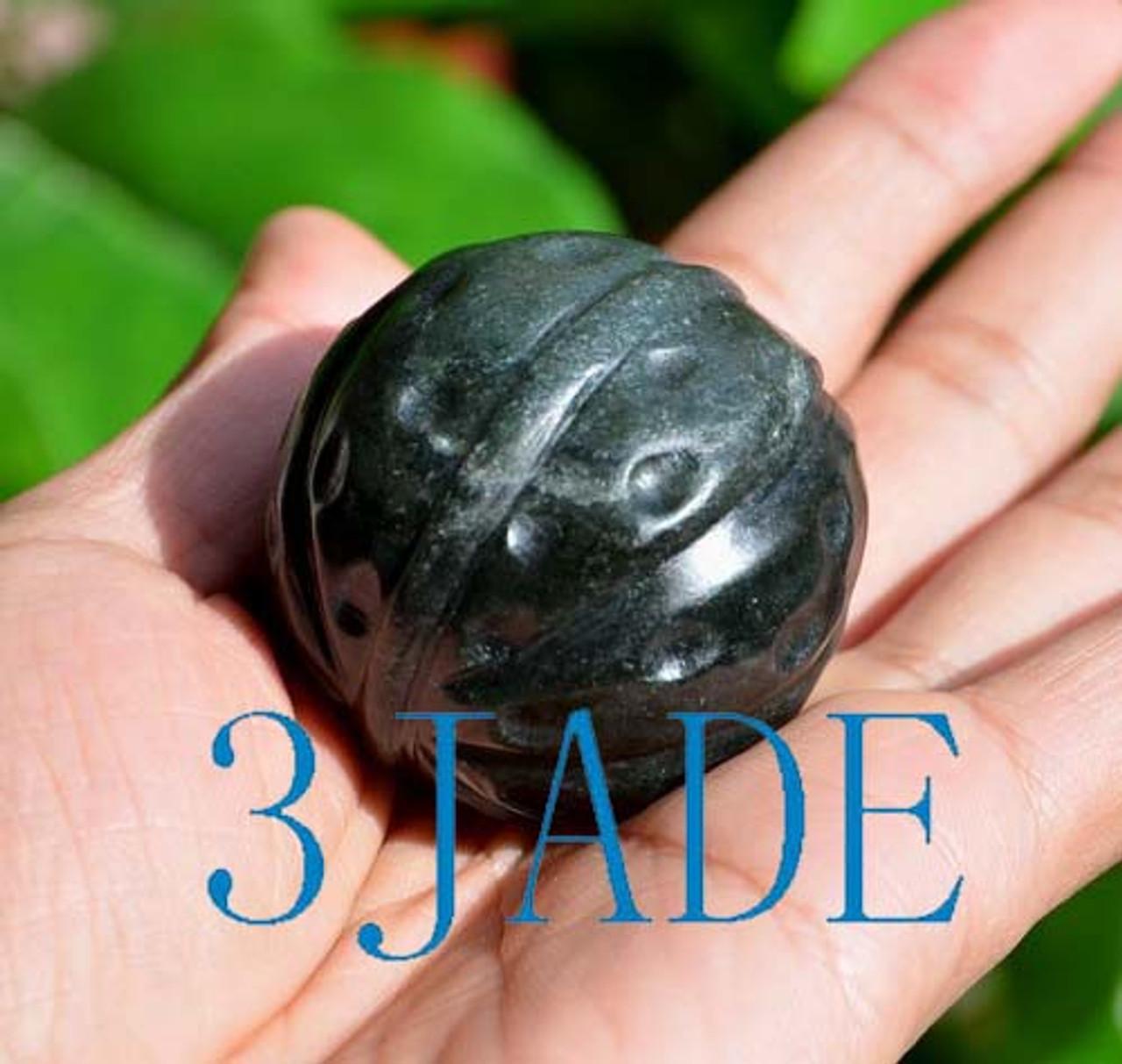 Hand Carved Natural Nephrite Jade Walnut Ball / Sphere