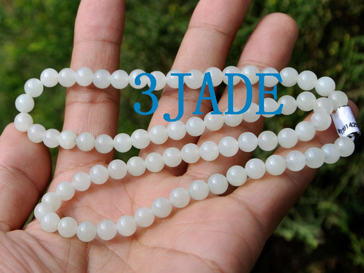 "w// Certificate 18/"" Natural White Hetian Nephrite Jade Beads Necklace"