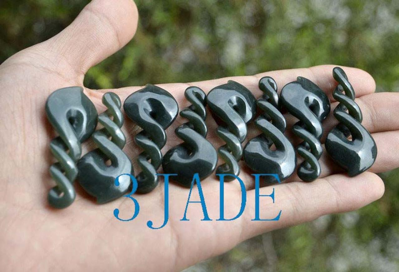 Natural Nephrite Jade Triple Twist Pendant Greenstone Necklace Maori Carving -G012384