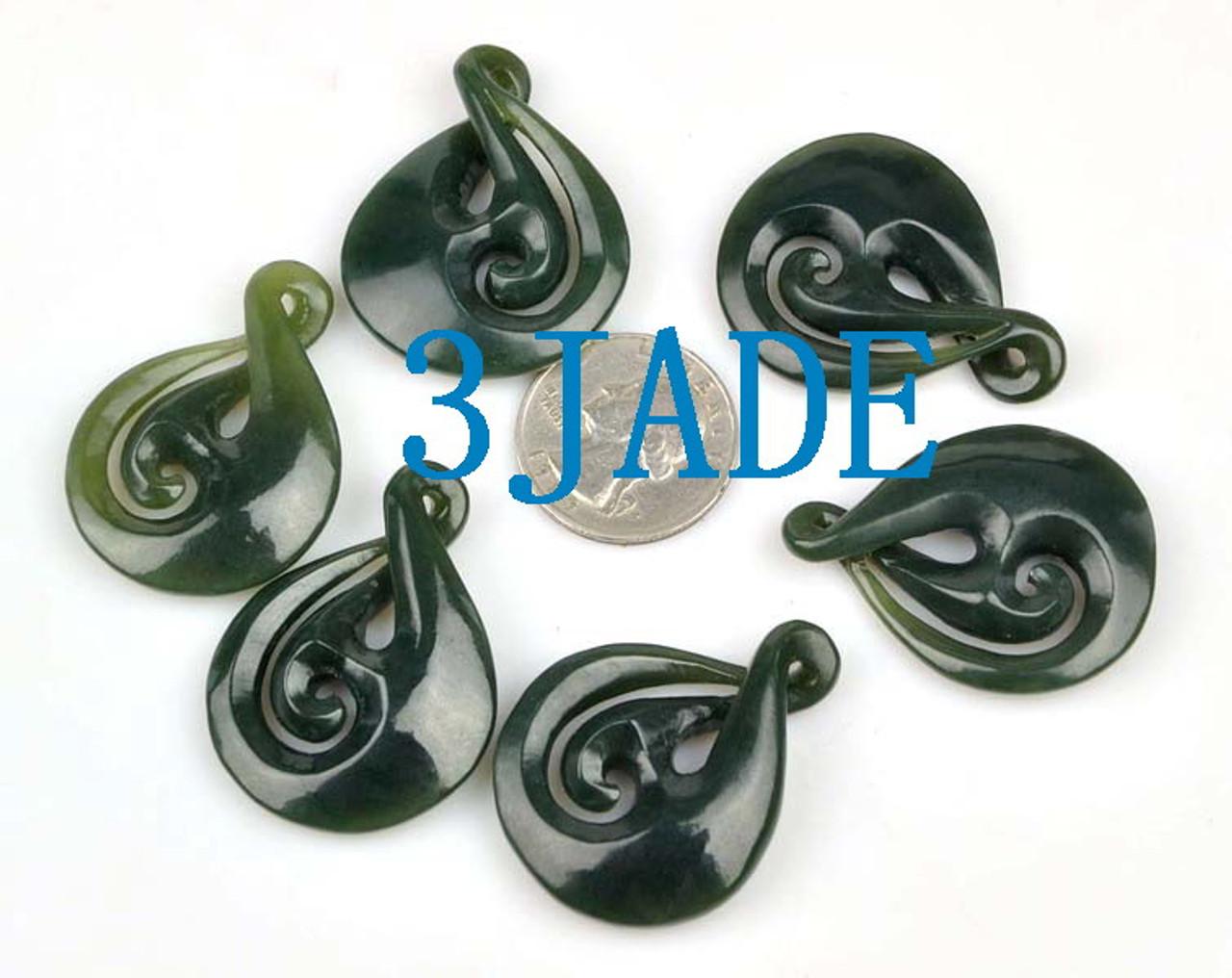 Natural Nephrite Jade Twist Manaia Pendant Greenstone Pounamu Necklace NZ Maori Carving -G012419