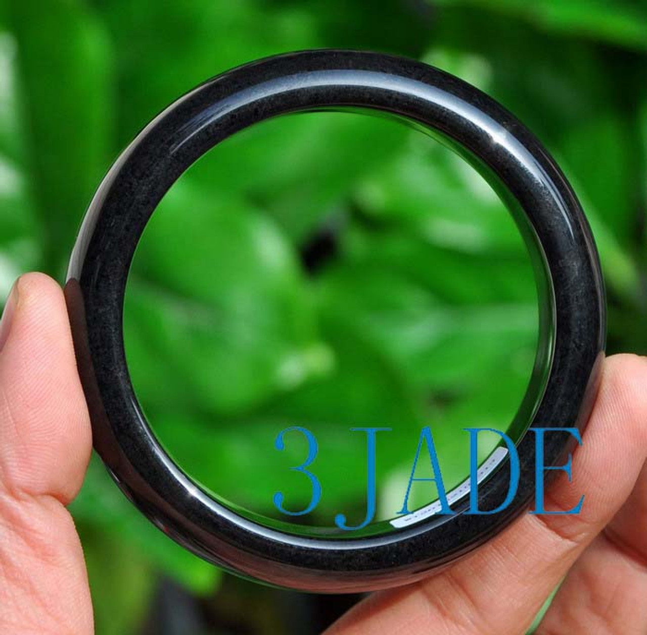 60mm Natural Pure Black Nephrite Jade Bangle Bracelet w/ Certificate 和田墨玉