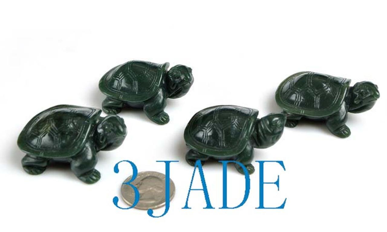 4pcs Natural Nephrite Jade Turtle Figurines Carving Wholesale -J023498