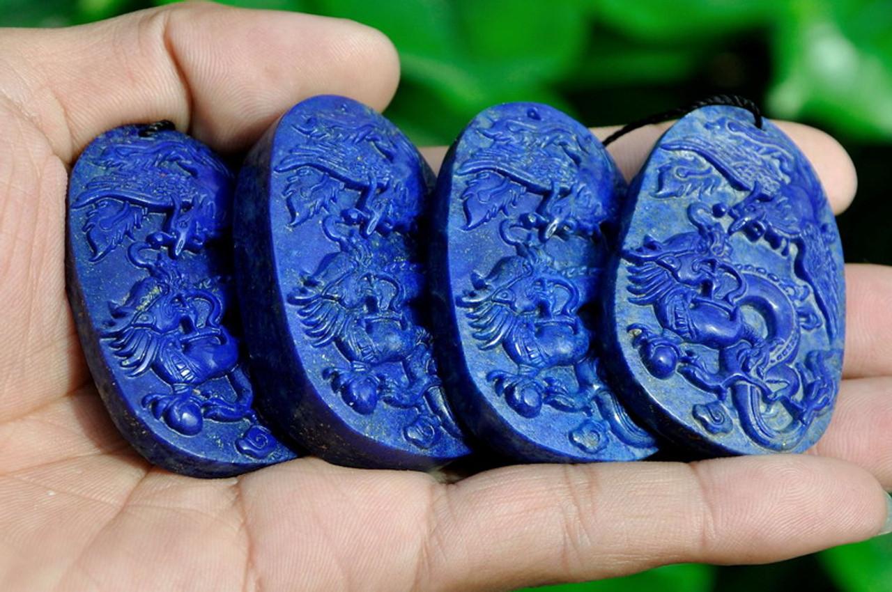 Lapis Lazuli Dragon & Phoenix Carving