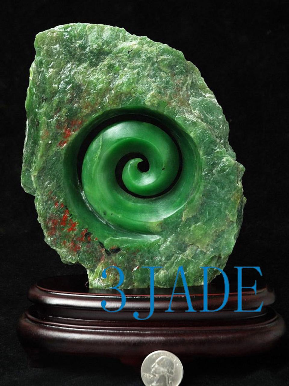 d49e22f4c69f1 Natural Green Nephrite Jade Koru Sculpture New Zealand Maori Style Carving  / Art -J026068