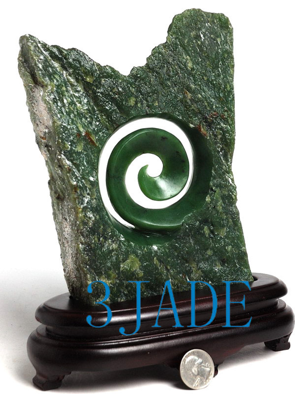 c59a27de0df1b Natural Green Nephrite Jade Koru Sculpture New Zealand Maori Style Carving  / Art -J026080