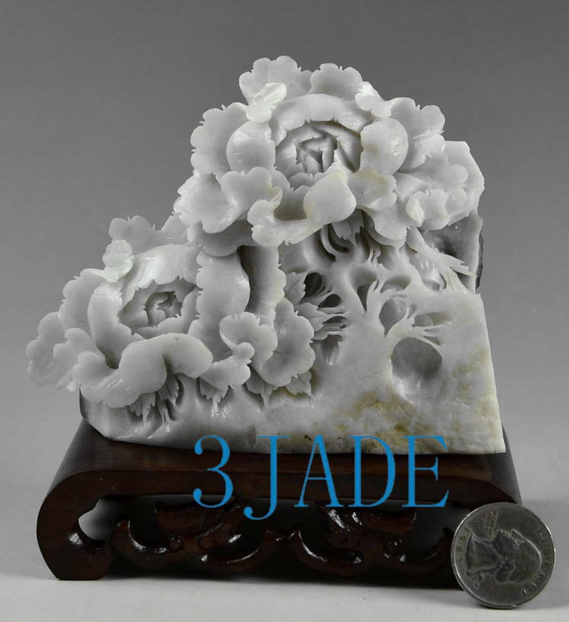 Natural dushan jade stone flower statue carving sculpture