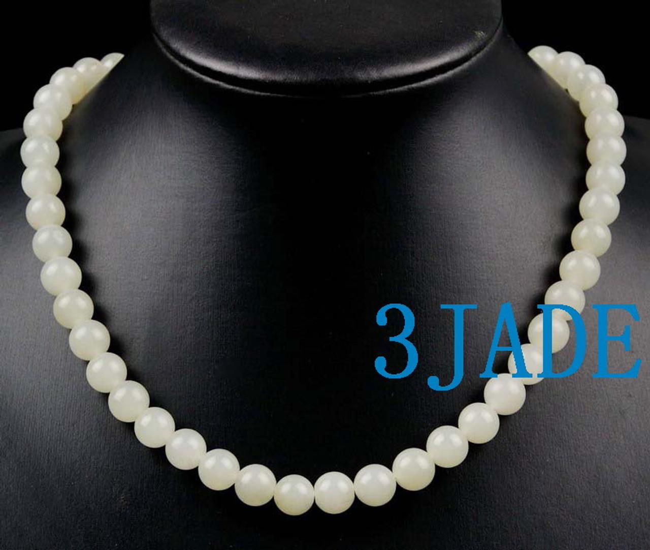 White nephrite jade necklace