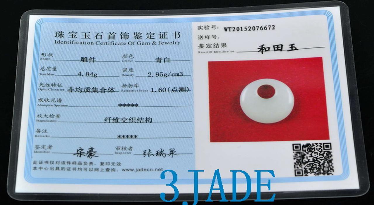 Certified Natural White Hetian Nephrite Jade Drop Dangle Earrings Jewelry -F014006