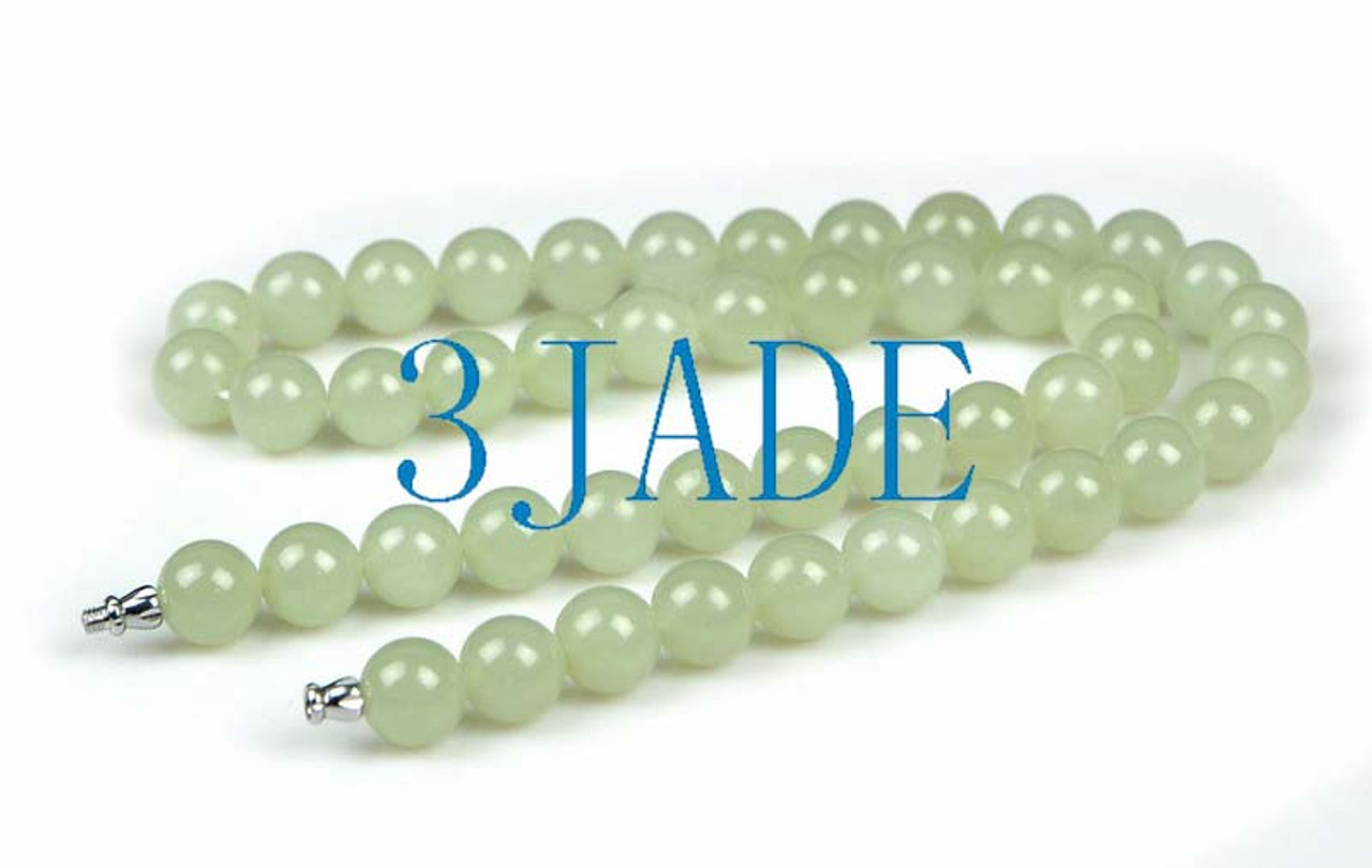 """20"""" Natural Hetian Nephrite Jade Beads Necklace Jewelry, w/ Certificate -D024032"""