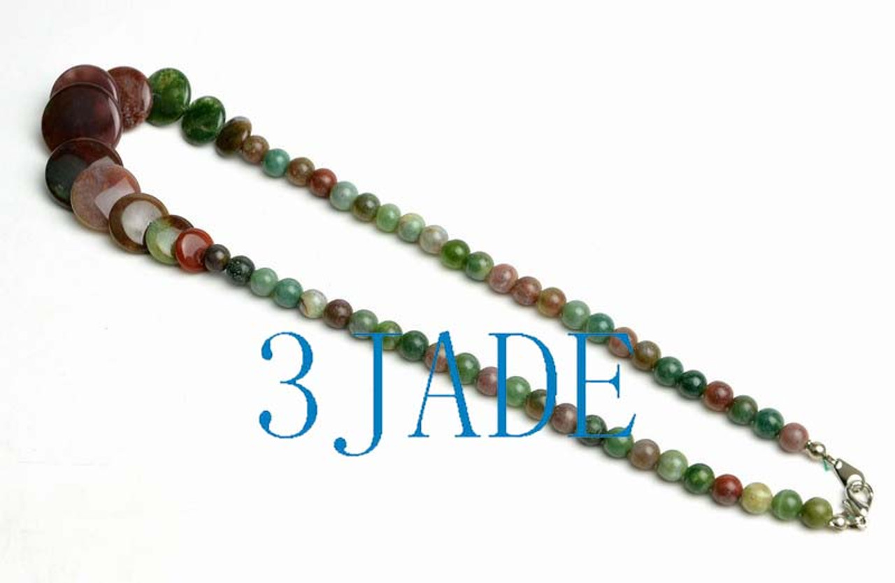 """17"""" Natural Multi-color Moss Agate Beads Necklace -D015104"""