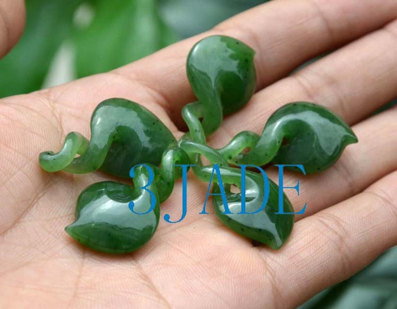 green jade double twist pendant