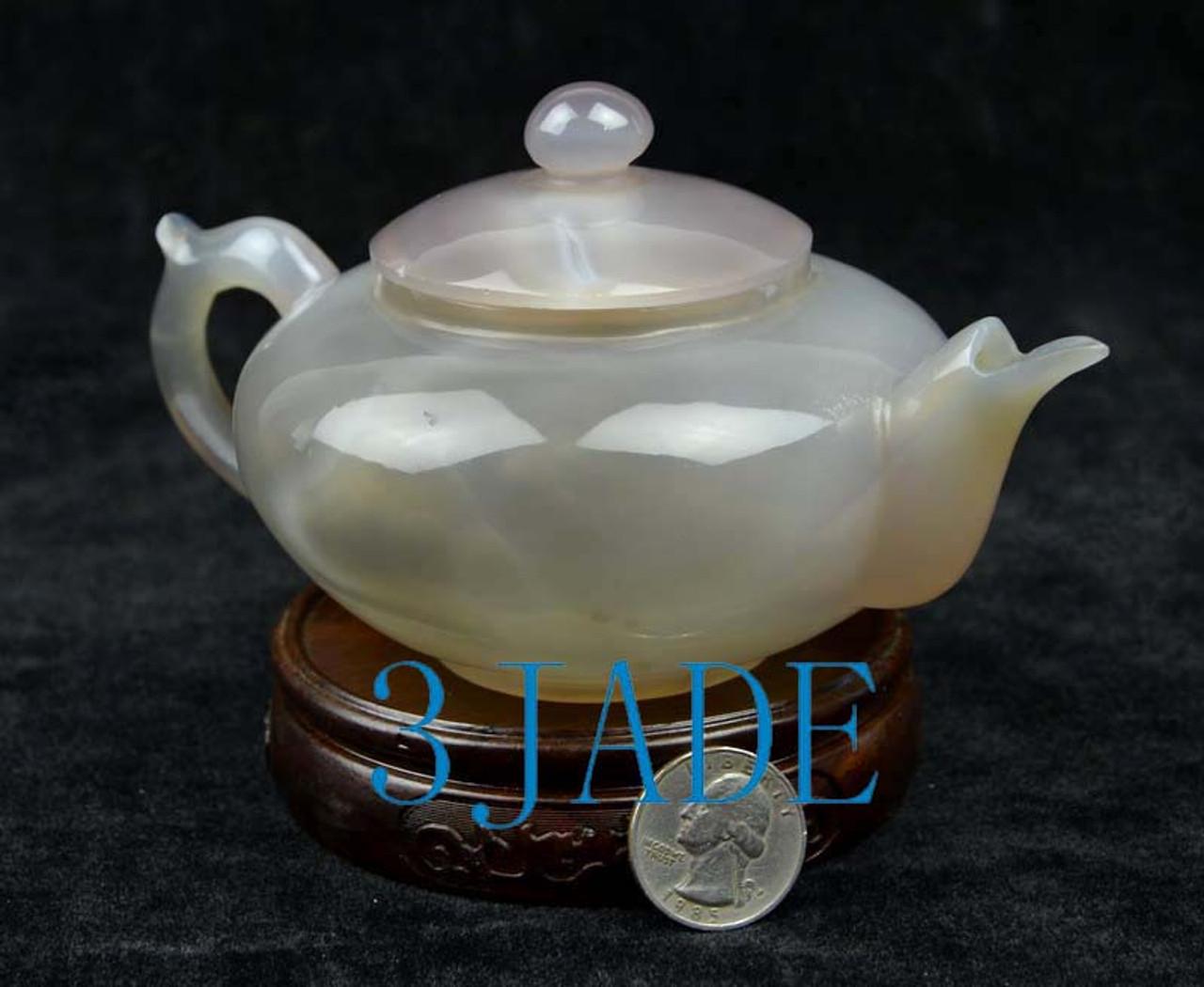 "6"" Natural Agate / Chalcedony Teapot / Tea Pot Statue /  Carving / Sculpture -N013047"