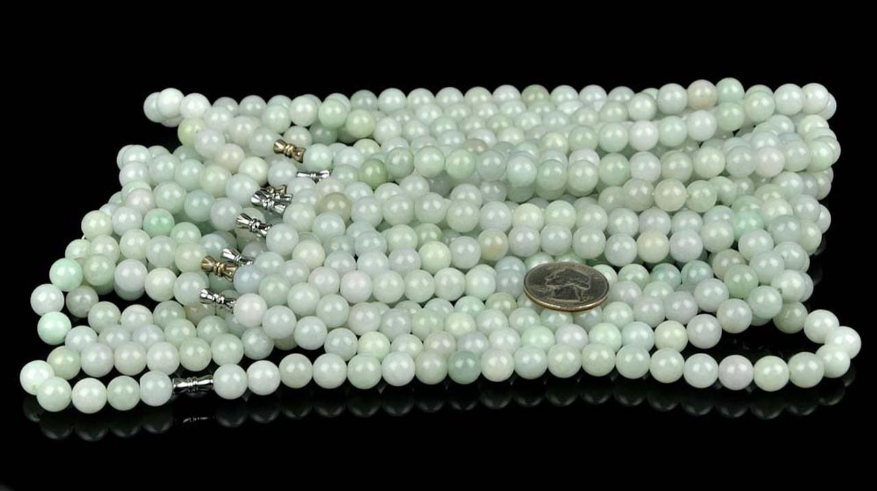 "Certified 18"" A Grade Natural Jadeite Jade Beads Necklace -D022076"