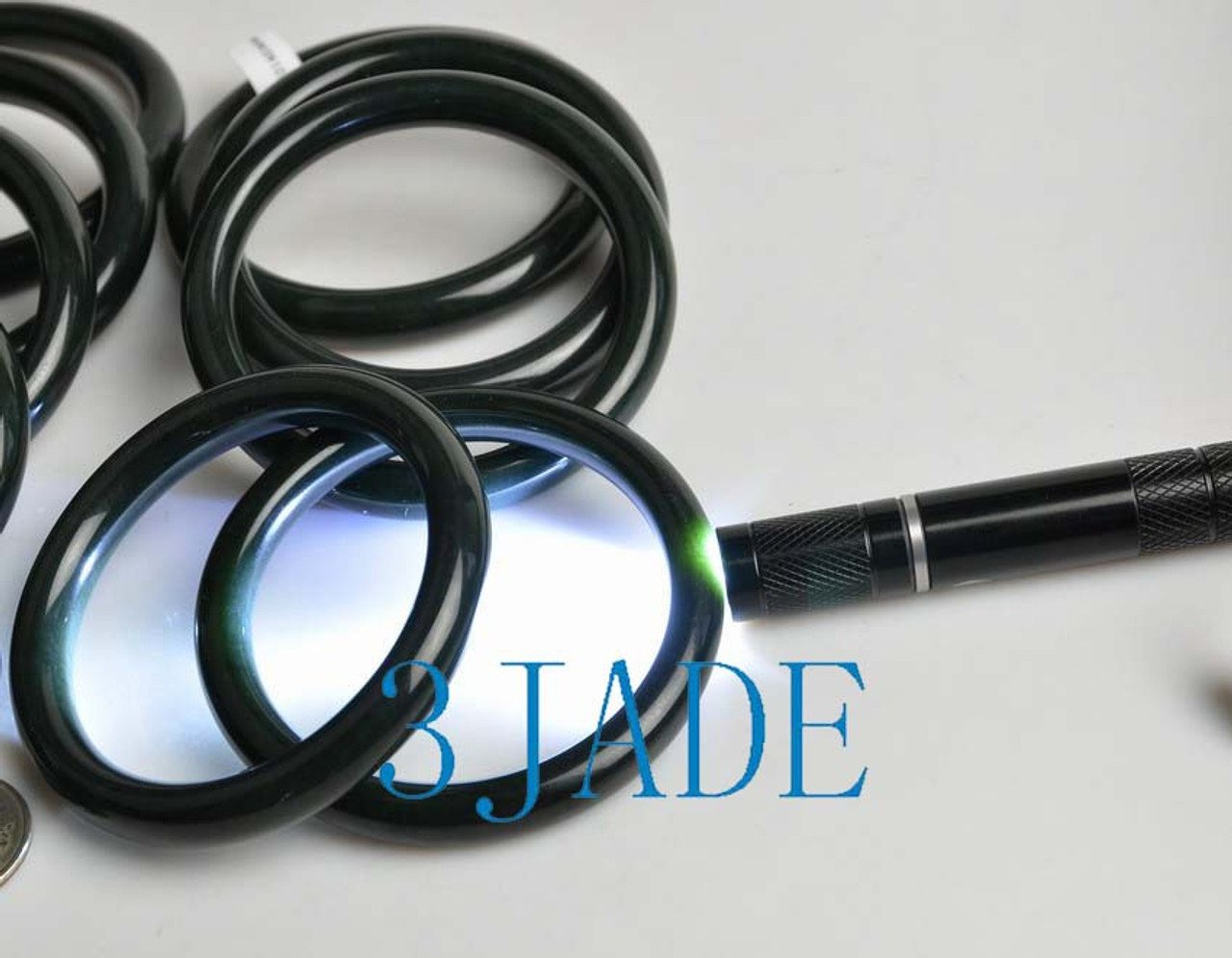 56mm - 64mm Natural Black Nephrite Jade Round Bangle Bracelet w/ Certificate