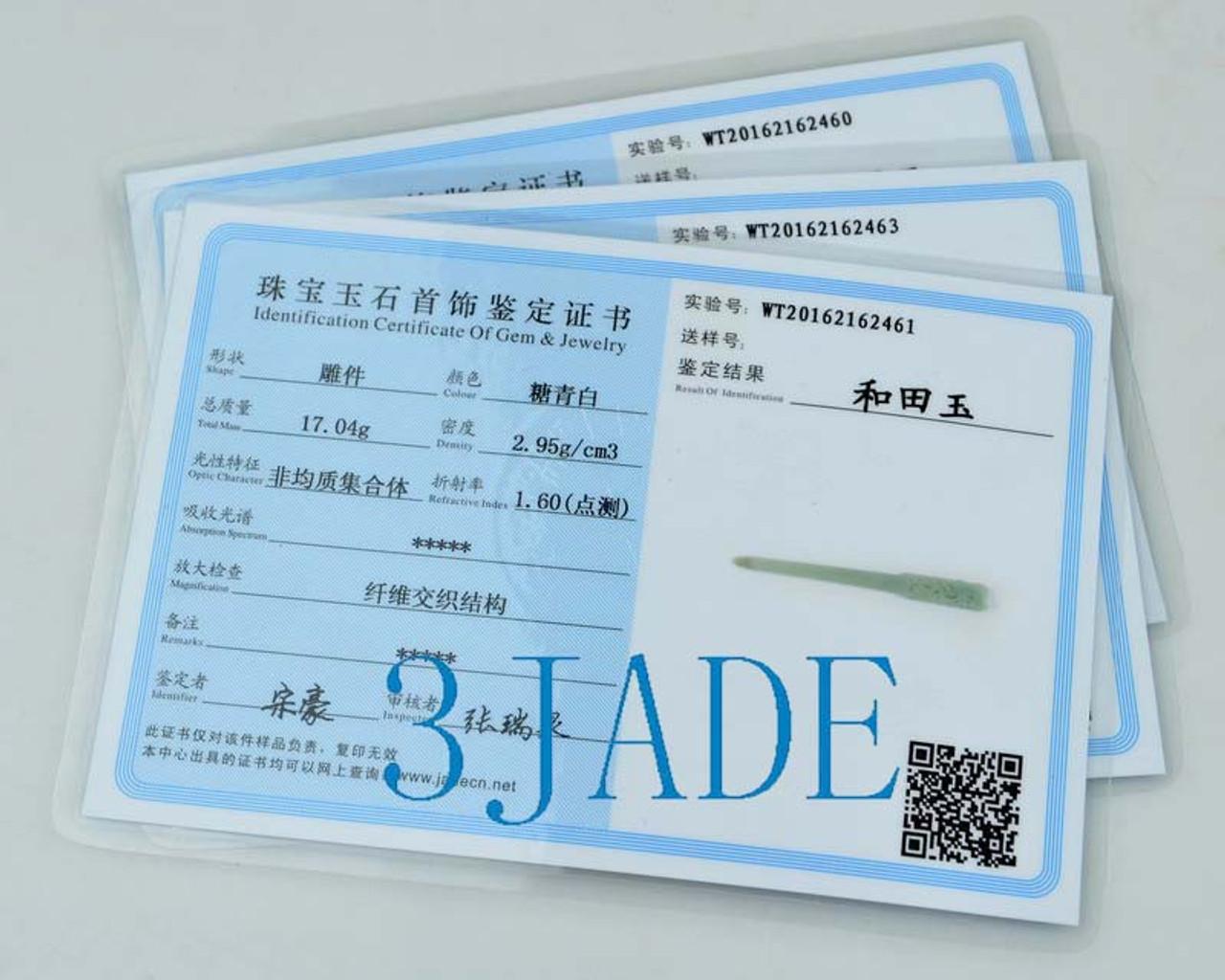 Natural Hetian Nephrite Jade Hair Stick /Hand Carved Hairpin Hair Pin w/ certificate -N012189