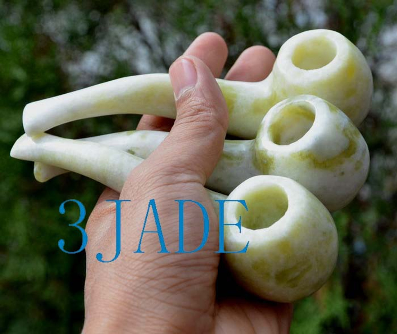 Hand Carved Natural Serpentine Stone Tobacco Pipe Lantian Jade -Z002001