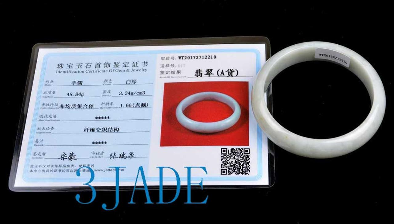 56mm - 58mm A Grade Natural Jadeite Jade Bangle Bracelet w/ Certificate