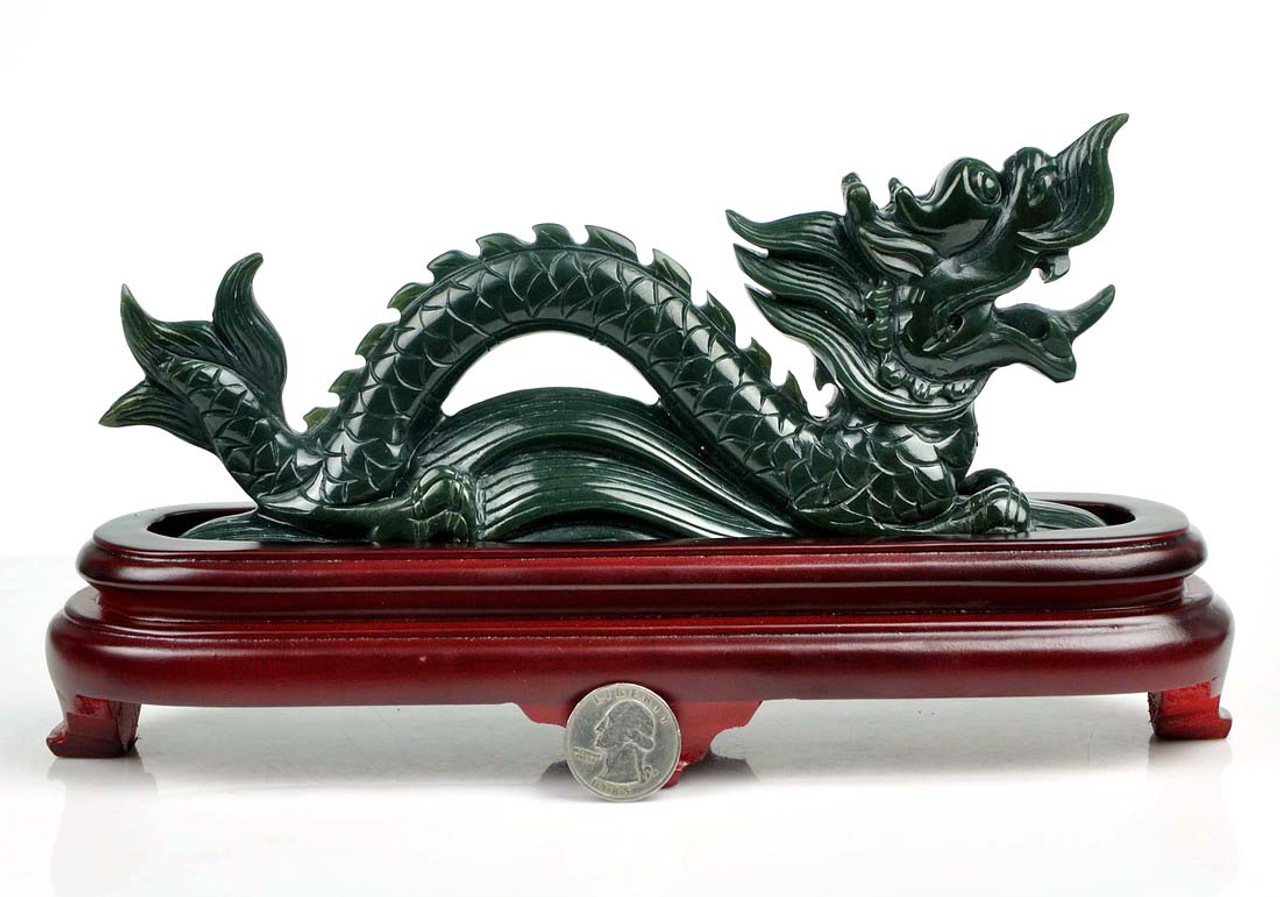 100/% Natural Chinese Xinyi Jade Sculpture Carved Dragon shape boat Statue