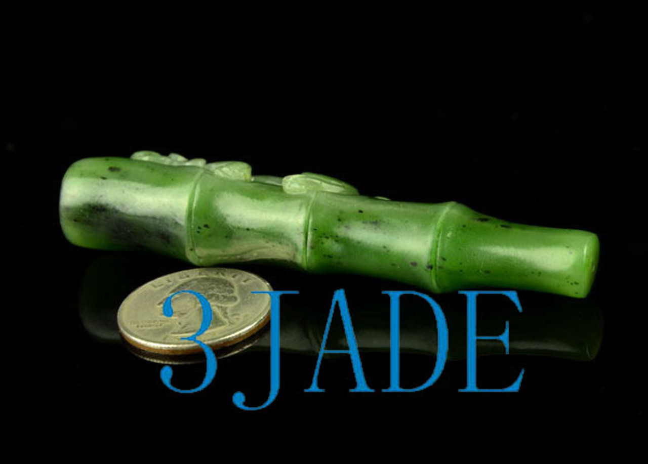 Natural Green Nephrite Jade Cigarette Holder w Carved Chinese Bixie