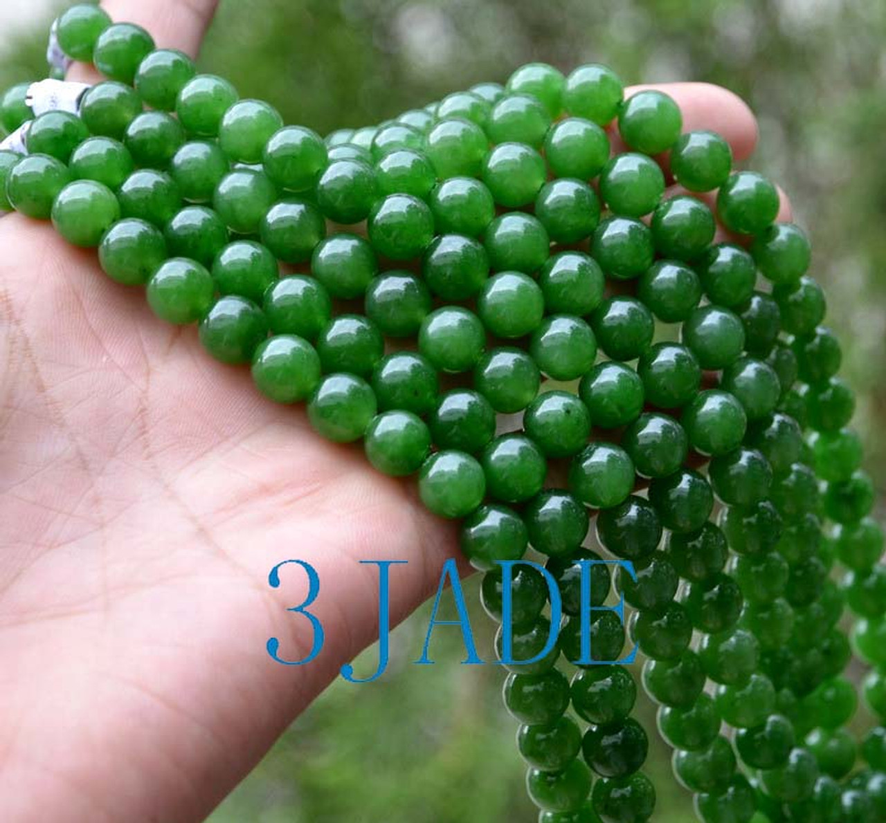 "18"" A Grade Natural Green Nephrite Jade Beads Necklace w/ Certificate -D001076"
