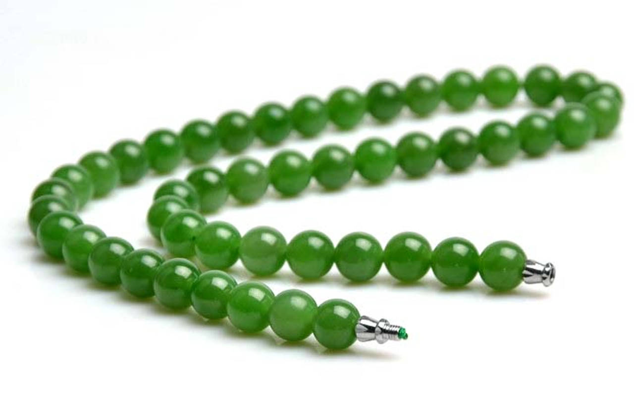 A Grade Natural Green Nephrite Jade Beads Necklace