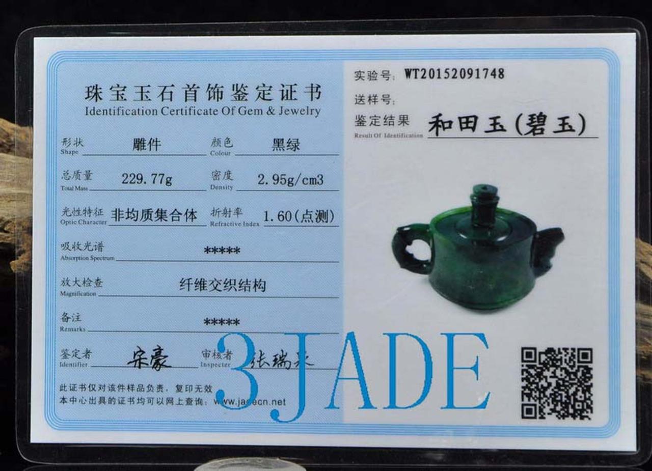 Natural Green Nephrite Jade Teapot Hand Carved Gemstone Tea Pot -NZ00051