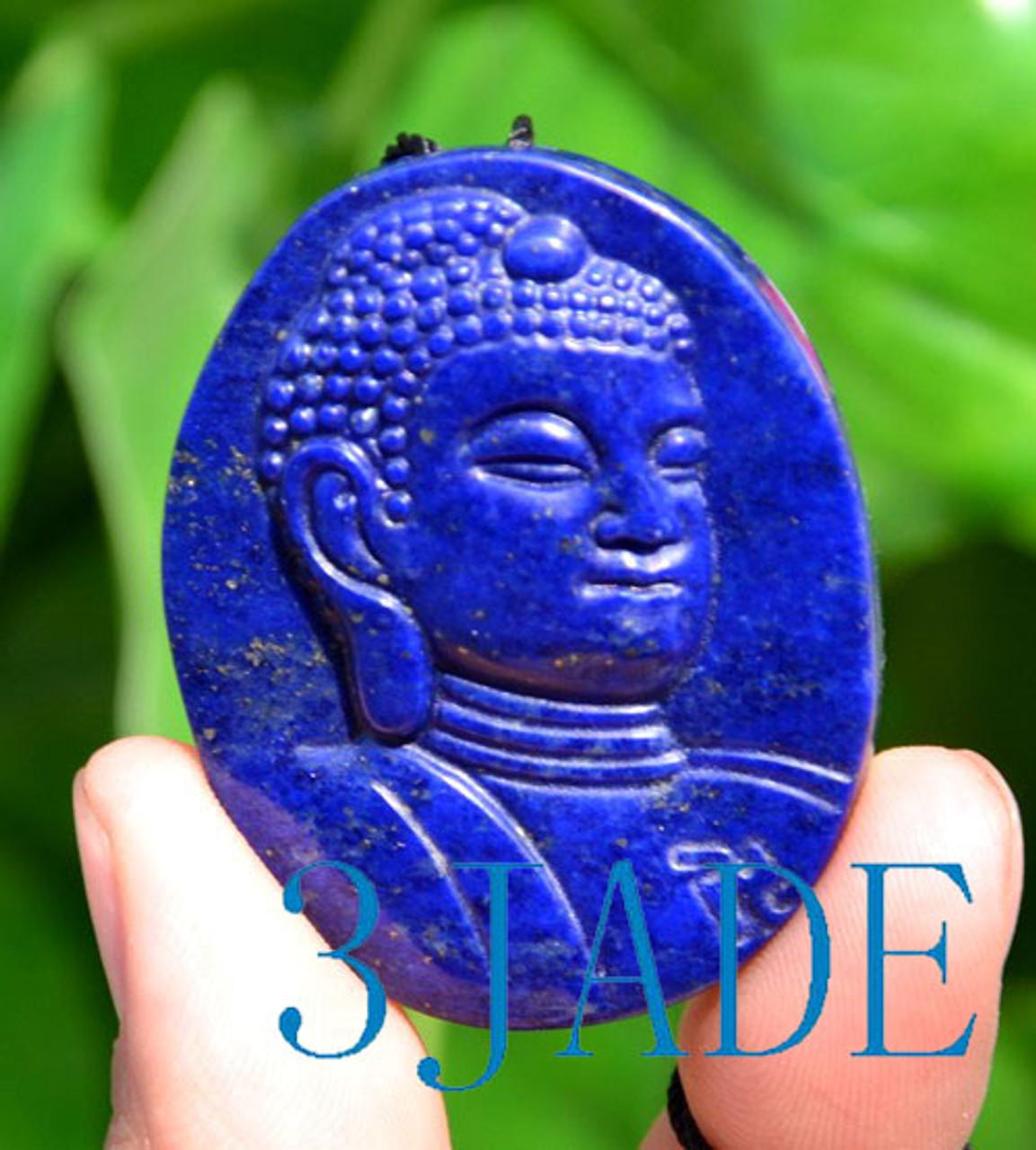 Carved Natural Lapis Gautama Buddha Head Sterling Silver Pendant Lapis Sakyamuni Buddha Pendant Lapis Lazuli Shakyamuni Buddha \u91ca\u8fe6\u725f\u5c3c