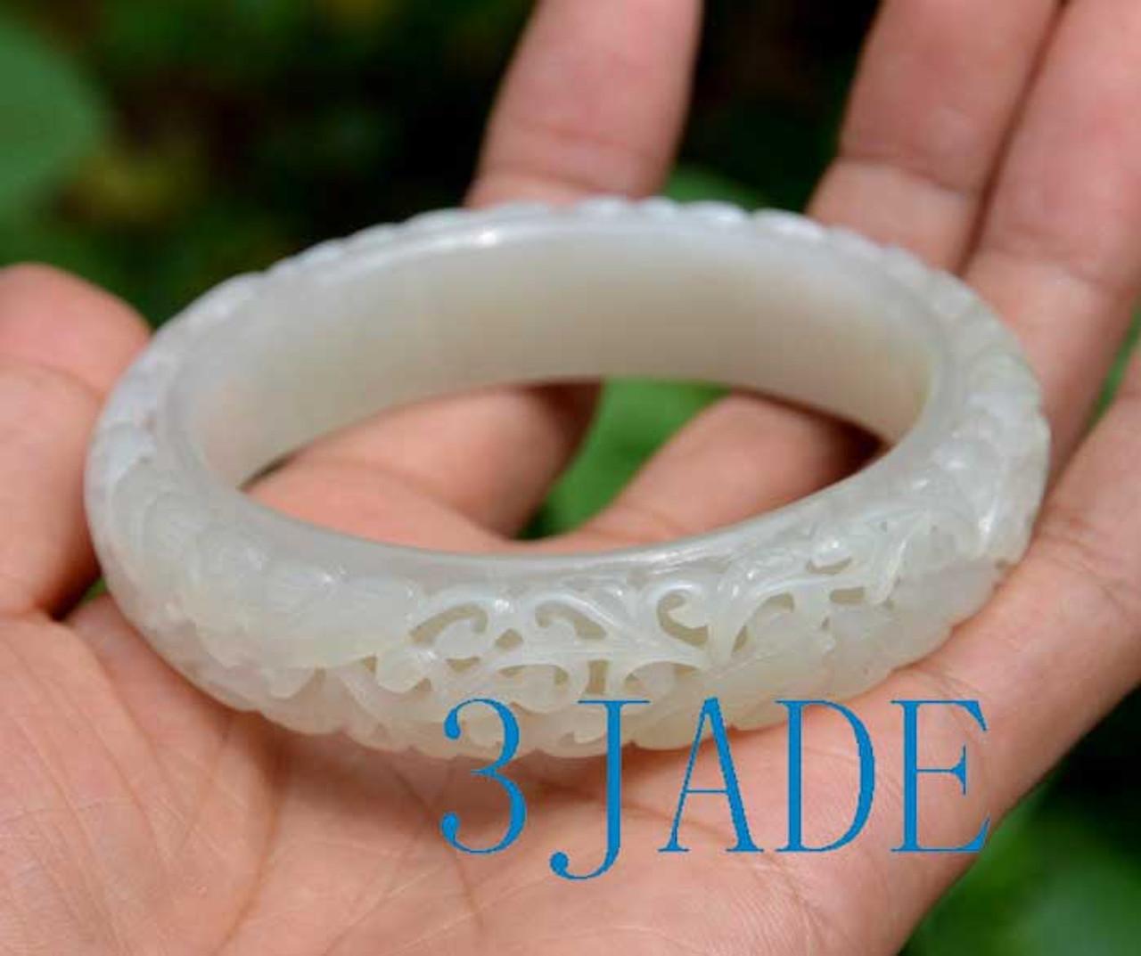 61mm carved white Hetian jade bangle