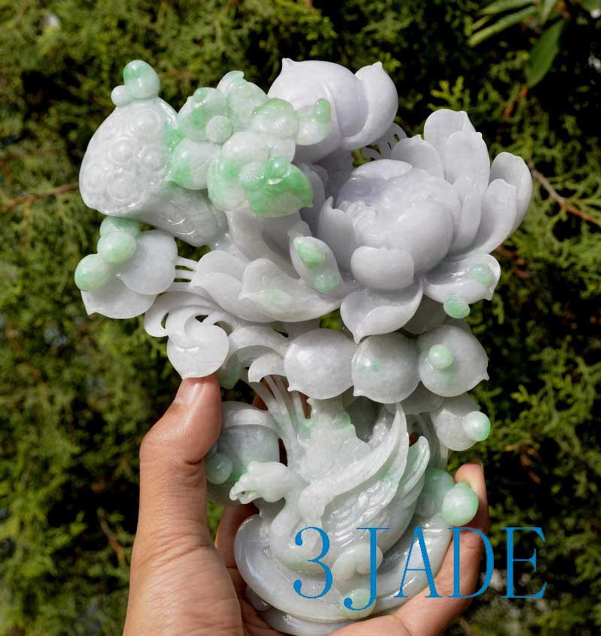 Pair of A Grade Green Lavender Jadeite Jade Lotus Flower & Swan Statues w/ certificates