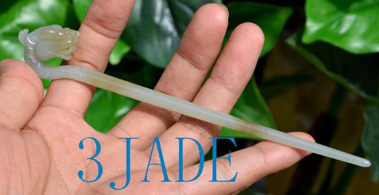 Hetian Nephrite jade Hair Stick /Hairpin Carved Beast / Dragon Head w/ certificate