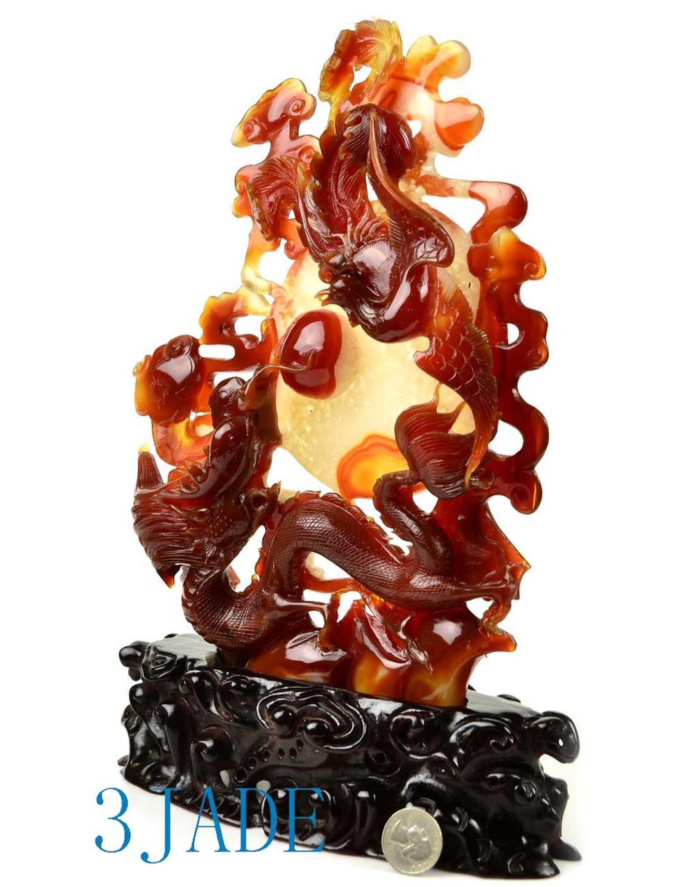 Red Agate Carnelian Dragon Phoenix Statue Chinese Wedding Gift Idea