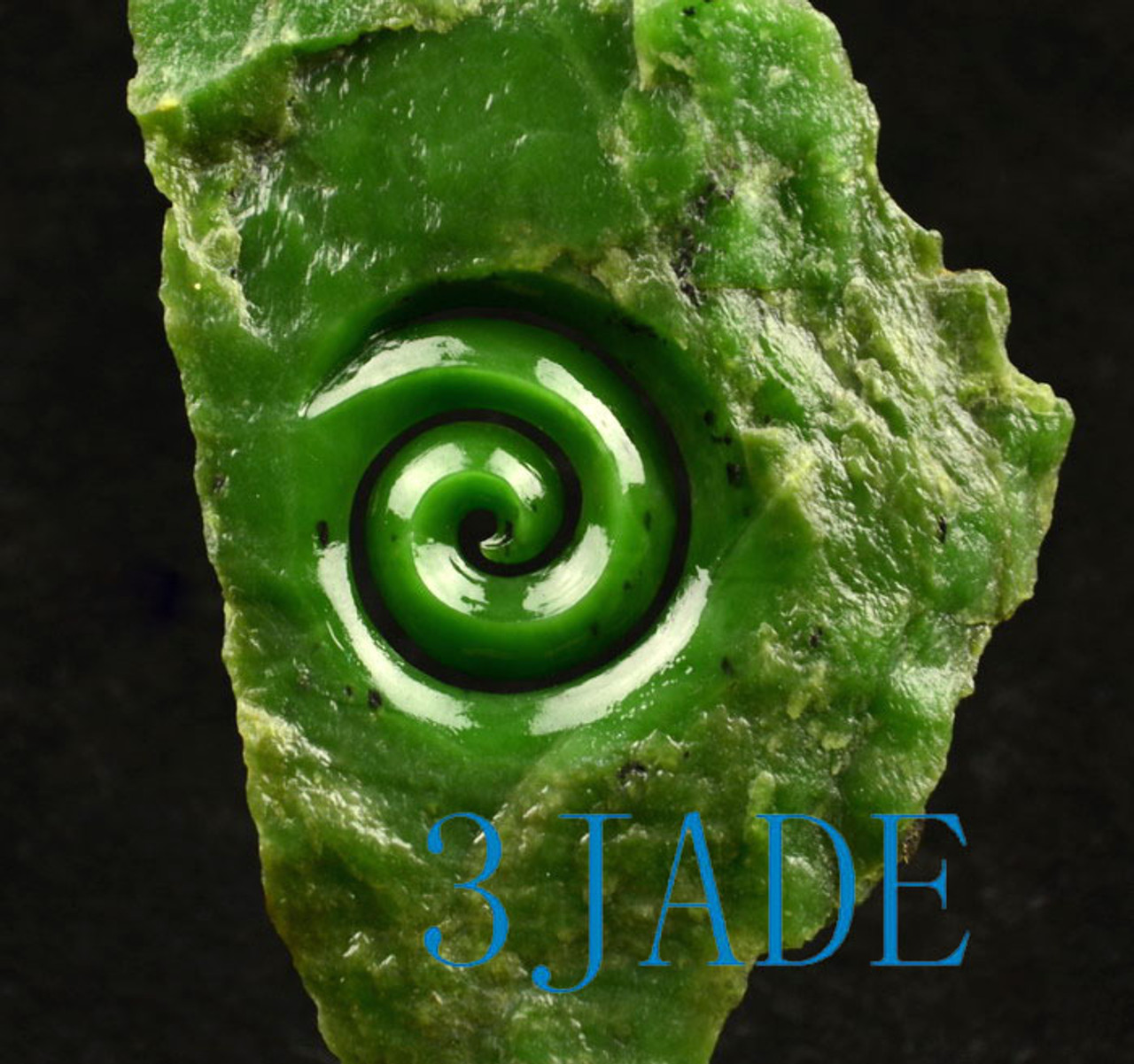 Green Nephrite Jade Koru Sculpture Statue NZ Maori Design Carving