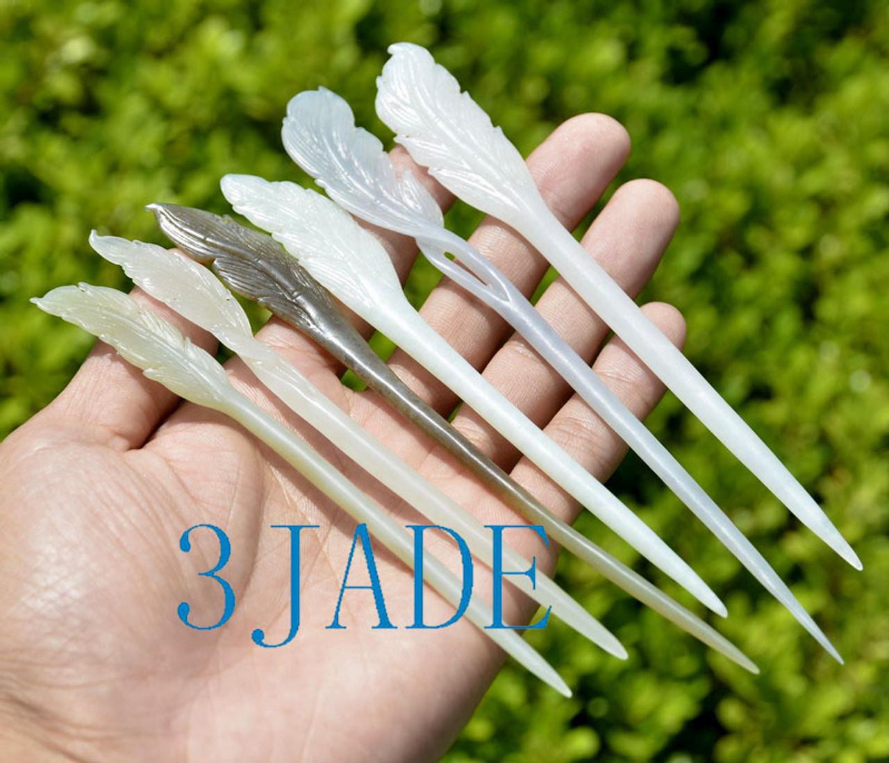 jade feather hairpin
