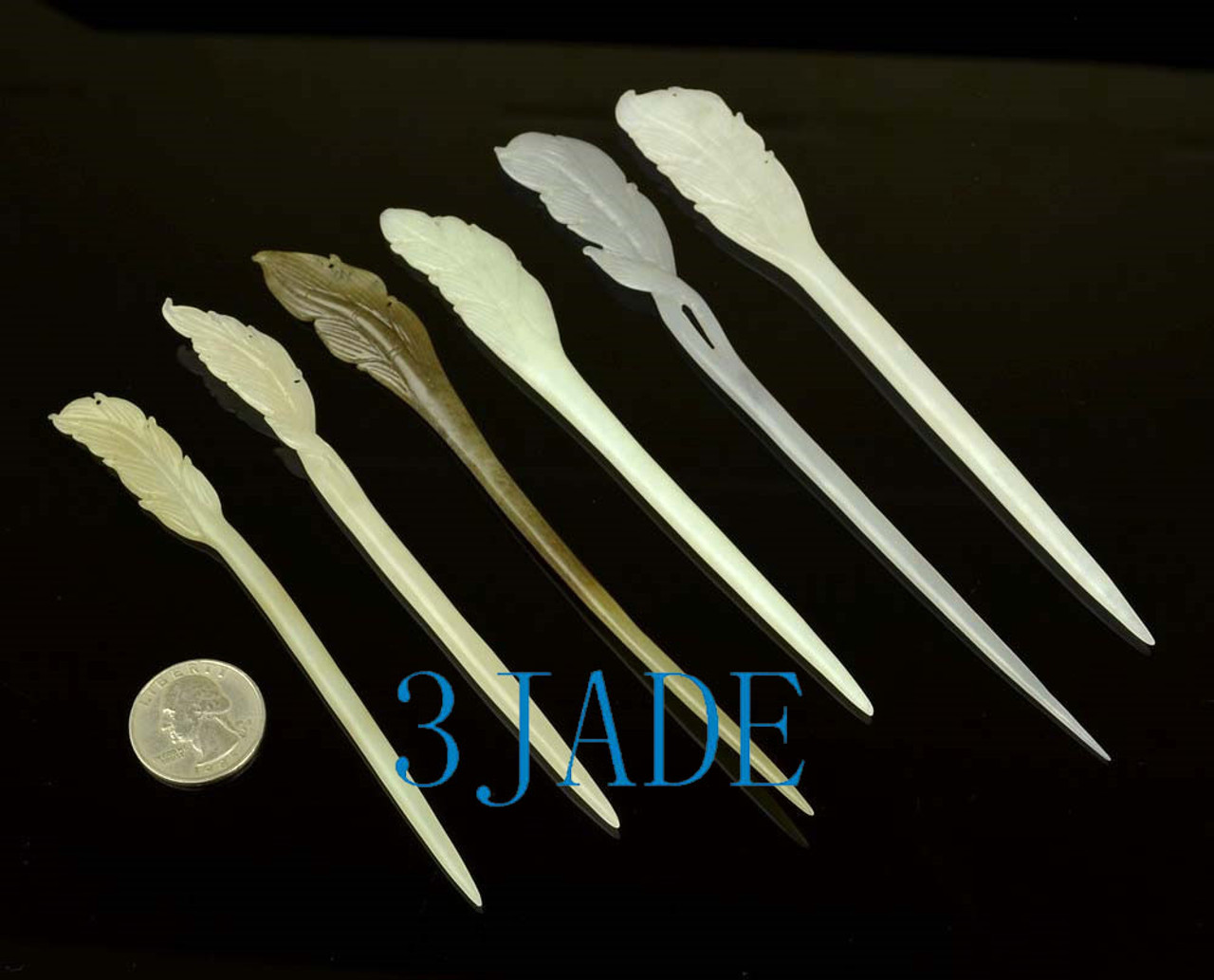 Hand Carved Feather Shape Nephrite jade Hair Stick /Hairpin w/ certificate