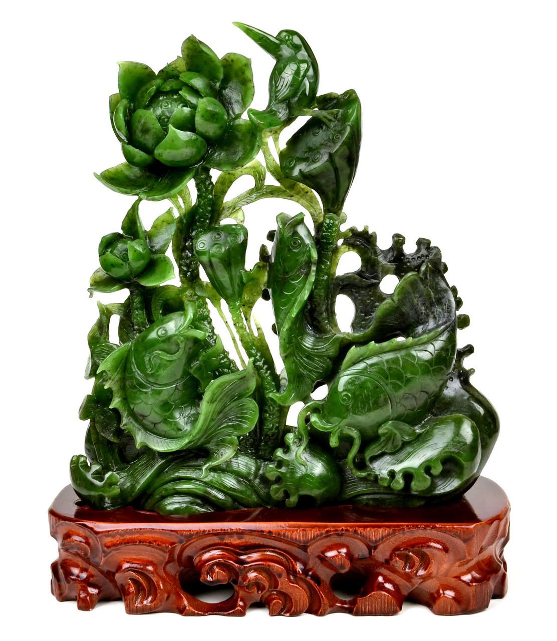 Green Nephrite Jade Lotus Koi Fish Sculpture