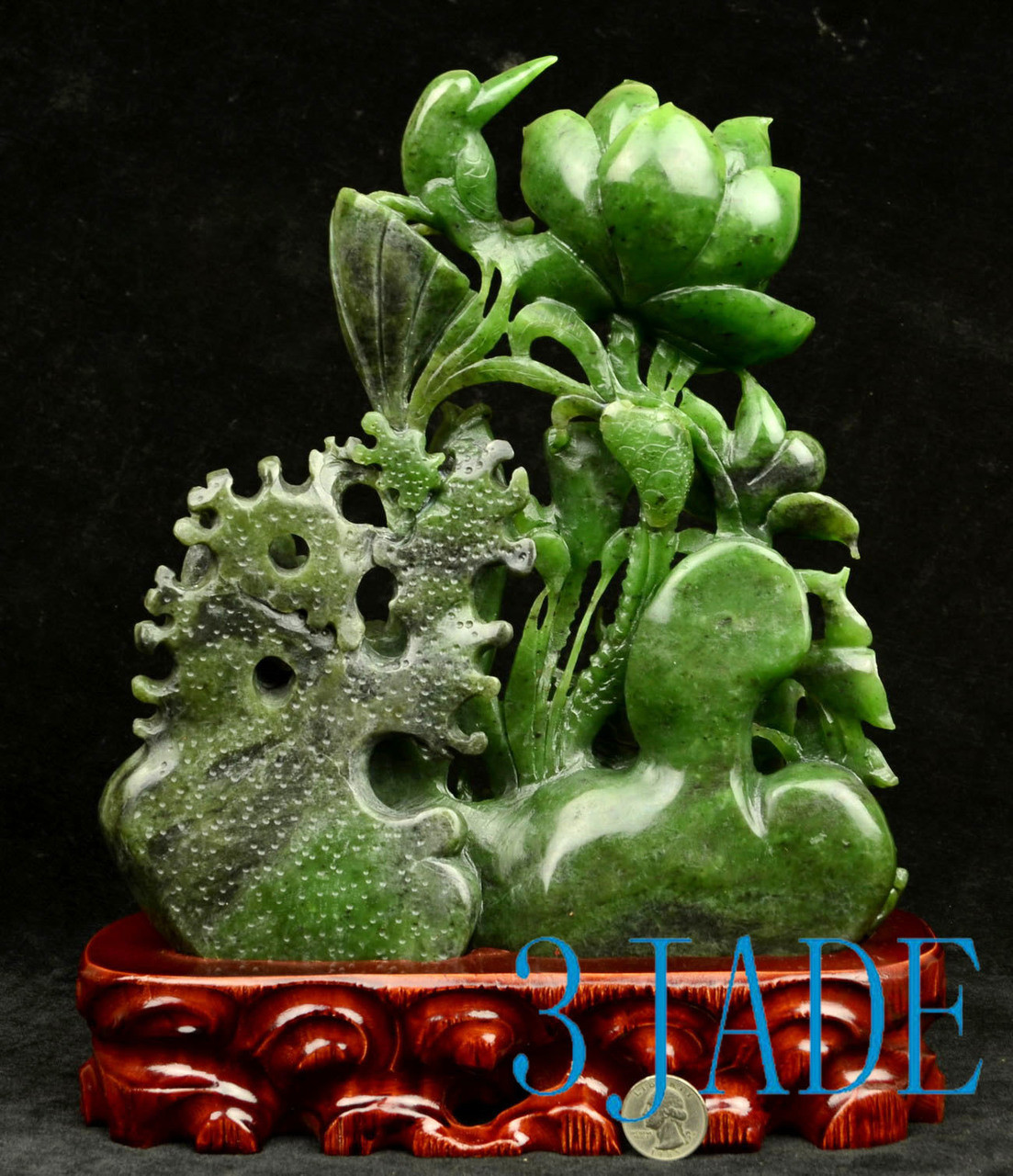 """10"""" Green Nephrite Jade Lotus Koi Fish Sculpture/ Chinese Traditional Carving Statue"""