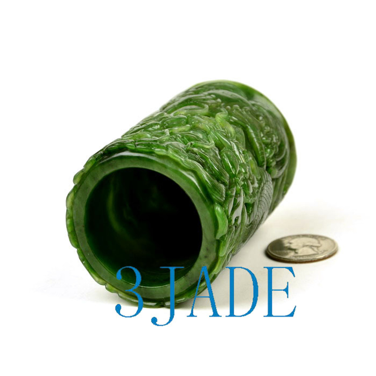 Green Nephrite Jade Pen Holder Pencil Cup w/ Carved Chinese Dragon