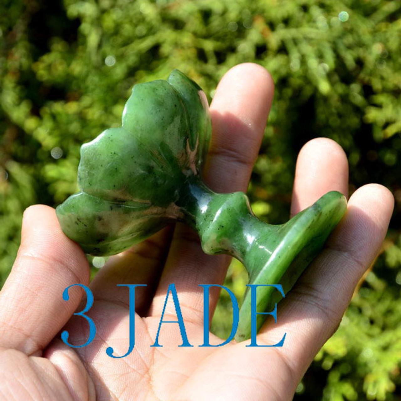 Green Nephrite Jade Joss Stick Holder Cared Lotus Incense Holder Incense Burner