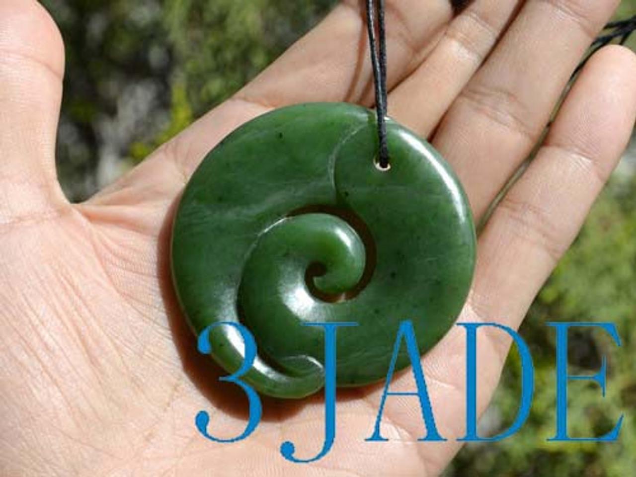 55mm Green Nephrite Jade Koru Pendant Maori Design Greenstone Necklace