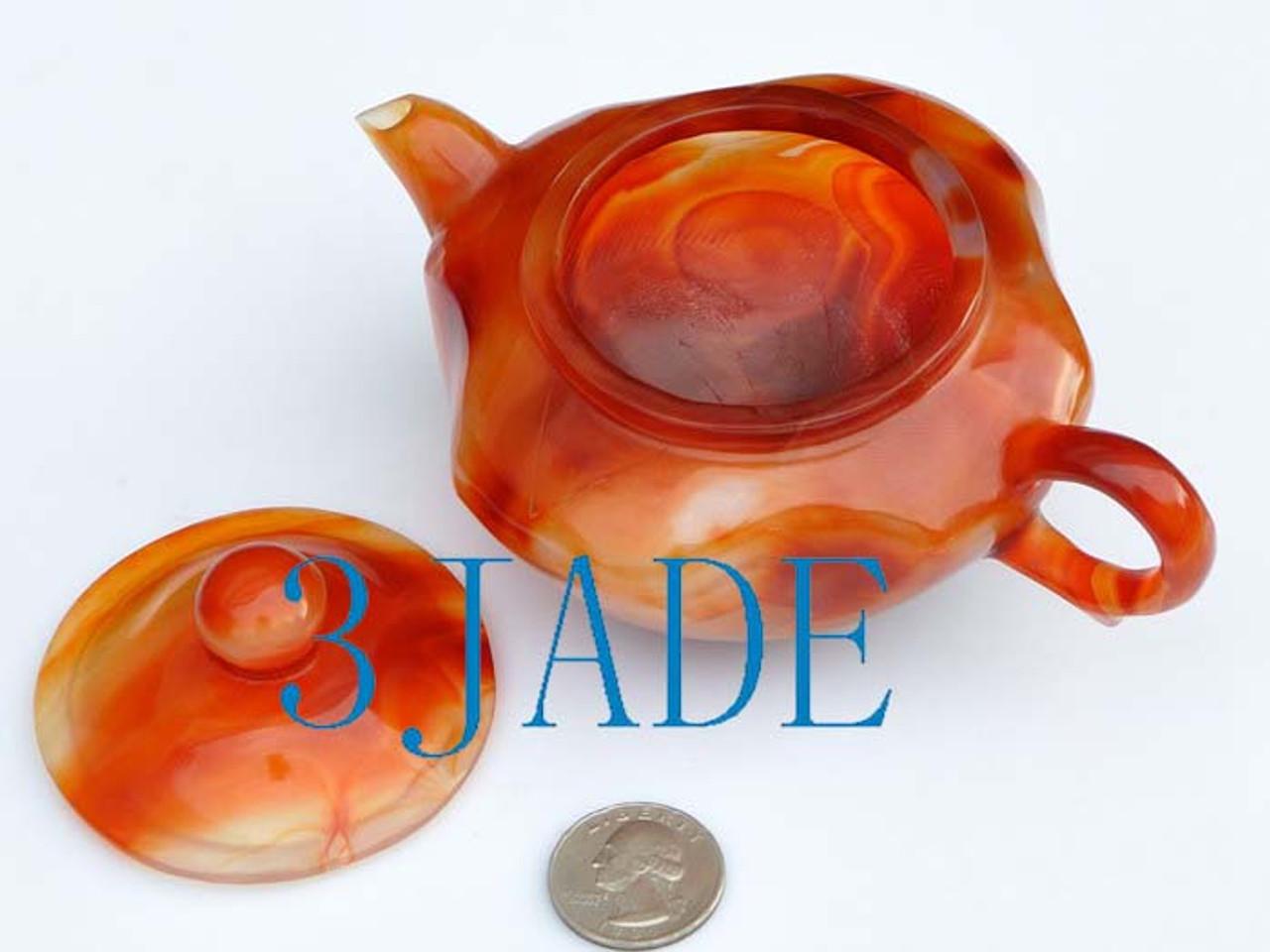 Red Agate / Carnelian Teapot / Tea Pot Statue Carving / Sculpture