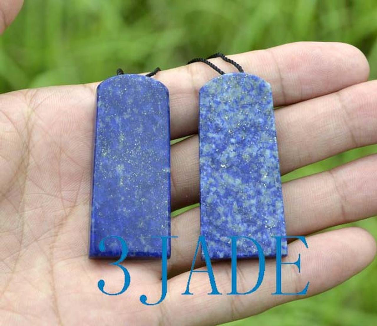 Natural Lapis Lazuli Chinese Dragon Pendant Amulet Necklace