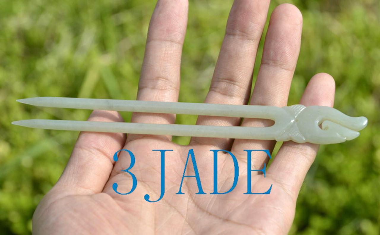 maori jade hair pin