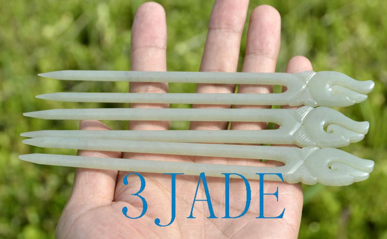 jade fish hook hair fork
