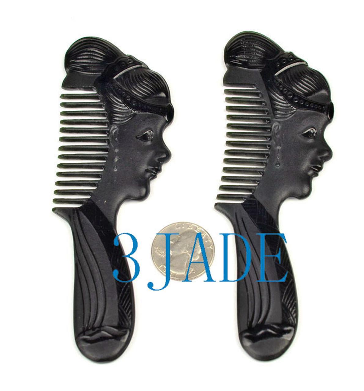 jade stone hair comb